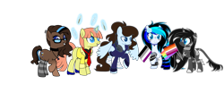 Size: 4305x1944 | Tagged: safe, artist:aestheticallylithi, artist:kb-gamerartist, oc, oc only, oc:abella, oc:blueberry oatmeal, oc:krissy, oc:lithium frost, oc:tippy toes, pegasus, pony, unicorn, 2021 community collab, derpibooru community collaboration, asexual, asexual pride flag, bandage, blank flank, brush, choker, clothes, coat, corset, ear piercing, earring, feather, female, flag, flower, flower in hair, freckles, gay pride flag, glasses, glowing horn, grin, headphones, high heels, hoodie, horn, jewelry, leonine tail, lesbian pride flag, levitation, lip piercing, magic, makeup, mare, markings, mascara, multicolored hair, necklace, necktie, paintbrush, piercing, pride, pride flag, raised hoof, rose, shoes, simple background, smiling, socks, spiked wristband, spread wings, striped socks, tape, telekinesis, transparent background, wall of tags, wings, wristband