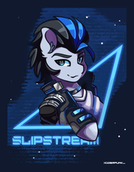 Size: 1720x2200 | Tagged: safe, artist:ciderpunk, oc, clothes, commission, cyberpunk, retrowave, synthwave