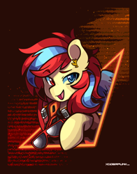 Size: 2346x3000 | Tagged: safe, artist:ciderpunk, oc, oc only, oc:starflame blood, pegasus, pony, clothes, commission, cyberpunk, heterochromia, retrowave, solo, sunglasses, synthwave