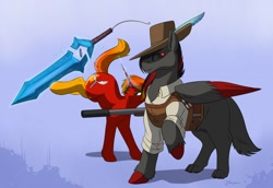 Size: 1280x880   Tagged: safe, artist:blueberrysnow, oc, oc only, oc:hakouro, oc:solar eclipse, hybrid, pegasus, pony, unicorn, wolf, wolf pony, black sclera, bucking, clothes, commission, cutie mark, digital art, duo, glowing horn, gun, hat, hooves, horn, levitation, magic, melee weapon, red eyes, rifle, simple background, sword, tail, telekinesis, weapon, wings
