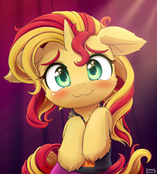 Size: 1920x2134 | Tagged: safe, artist:symbianl, sunset shimmer, pony, unicorn, :3, blushing, clothes, cute, daaaaaaaaaaaw, equestria girls outfit, female, floppy ears, fluffy, hnnng, looking at you, shimmerbetes, smiling at you, solo, symbianl is trying to murder us, weapons-grade cute