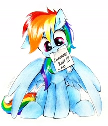 Size: 2061x2398 | Tagged: safe, artist:liaaqila, rainbow dash, pegasus, pony, cute, dashabetes, female, liaaqila is trying to murder us, liaaqila is trying to murder us with dashabetes, mare, mouth hold, paper, simple background, sitting, solo, traditional art, weapons-grade cute, white background
