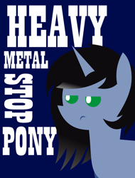 Size: 4389x5767 | Tagged: safe, artist:isaac_pony, artist:lincoln ks115, oc, oc:shainer shrapnel shock, pony, unicorn, angry, blue background, doom, doom equestria, female, green eyes, horns, meme, pointy ponies, show accurate, simple background, solo, text, vector