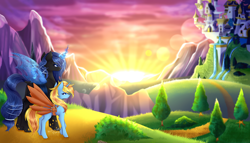 Size: 7000x4000 | Tagged: safe, artist:quasafox, oc, oc:queen lahmia, oc:skydreams, changeling, changeling queen, pony, unicorn, artificial wings, augmented, blue changeling, canterlot, changeling queen oc, commission, female, mare, mechanical wing, scenery, wings