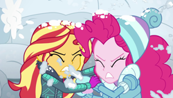 Size: 1920x1080   Tagged: safe, screencap, pinkie pie, sunset shimmer, equestria girls, equestria girls series, holidays unwrapped, saving pinkie's pie, spoiler:eqg series (season 2), clothes, duo, female, gloves, snow, snow fort, snowball fight, souffle, taking cover, winter, winter outfit