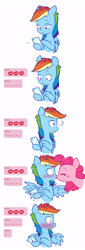 Size: 2491x7288   Tagged: safe, artist:chub-wub, pinkie pie, rainbow dash, earth pony, pegasus, pony, blushing, cellphone, comic, dexterous hooves, eyes closed, female, high res, hoof hold, kissing, lesbian, lol, mare, phone, pinkiedash, question mark, shipping, smartphone, spread wings, surprise kiss, surprised, text message, texting, wide eyes, wingboner, wings