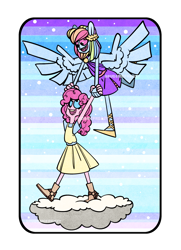 Size: 1885x2607 | Tagged: safe, artist:spudsmcfrenzy, pinkie pie, rainbow dash, human, clothes, cloud, dress, eared humanization, female, humanized, lesbian, pinkiedash, shipping, winged humanization, wings
