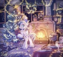 Size: 1714x1535 | Tagged: safe, artist:alexbluebird, oc, oc only, alicorn, pony, alicorn oc, book, bookshelf, candle, candy, candy cane, chest fluff, christmas, christmas stocking, christmas tree, commission, cookie, dock, doll, fangs, fire, fireplace, fluffy, food, hat, holiday, horn, looking at you, night, present, rug, smiling, solo, toy, tree, wings