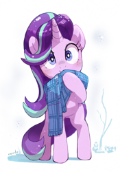 Size: 1400x2000 | Tagged: safe, artist:nendo, starlight glimmer, pony, unicorn, clothes, cute, female, glimmerbetes, scarf, simple background, solo, white background