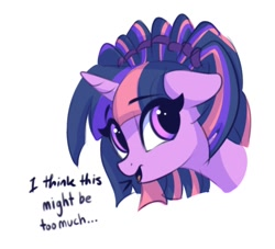 Size: 1700x1543 | Tagged: safe, artist:lollipony, twilight sparkle, pony, alternate hairstyle, bust, dialogue, eye clipping through hair, female, floppy ears, looking at you, mare, open mouth, pigtails, portrait, simple background, smiling, solo, talking to viewer, white background