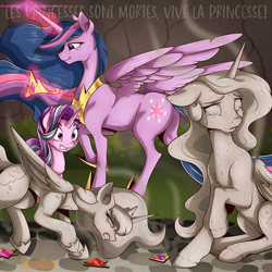 Size: 2000x2000   Tagged: safe, artist:zuckergelee, princess celestia, princess luna, starlight glimmer, twilight sparkle, alicorn, pony, unicorn, the last problem, spoiler:comic, alternate timeline, bad end, butt, collar, crown, crying, cutie mark, dark, digital art, element of generosity, element of honesty, element of kindness, element of laughter, element of loyalty, element of magic, elements of harmony, fallen hero, freckles, french, glowing horn, gritted teeth, horn, jewelry, levitation, magic, oh dear, oh dear god, oh no, older, older twilight, petrification, peytral, plot, princess twilight 2.0, regalia, shocked, smiling, smirk, statue, stone, tail, tears of pain, teary eyes, telekinesis, this will end in timeline distortion, traitor sparkle, treason, twibutt, twilight sparkle (alicorn), tyrant sparkle, wall of tags, we are going to hell, what have you done?!, why, wings