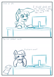 Size: 1920x2733 | Tagged: safe, artist:khaki-cap, oc, oc only, oc:khaki-cap, earth pony, clothes, comic, computer, crying, digital art, earth pony oc, sketch, table