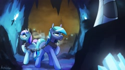 Size: 2560x1440   Tagged: safe, artist:anticular, king sombra, crystal pony, earth pony, pony, unicorn, chains, crystal empire, female, male, mare, offscreen character, stallion, teary eyes