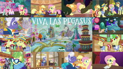 Size: 1972x1110   Tagged: safe, edit, edited screencap, editor:quoterific, screencap, alpha beta, applejack, butterscotch sweets, country mile, desert wind, dusty swift, fast break, fat stacks, fiery fricket, final countdown, flam, flim, fluttershy, frying pan (character), gladmane, high roller, home stretch, lightning riff, miss hackney, moonlight zephyr, neckshot, ocean spray, opulence, pacifica, polo play, rosy pearl, saturn (character), silver waves, sprout greenhoof, summit point, svengallop, sweet biscuit, sweet buzz, trapeze star, whirlwind romance, wintergreen, zen moment, viva las pegasus, flim flam brothers, impossibly rich, las pegasus, las pegasus resident, microphone
