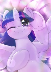 Size: 1430x2048 | Tagged: safe, artist:kurogewapony, twilight sparkle, alicorn, pony, :3, adorkable, blushing, cute, dork, female, frog (hoof), lens flare, looking at you, lying down, on back, one eye closed, smiling, smiling at you, solo, twiabetes, twilight sparkle (alicorn), underhoof, wink