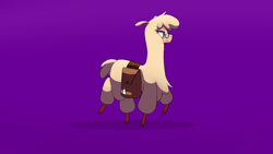 Size: 1920x1080 | Tagged: safe, artist:hitsuji, oc, oc:shio (hitsuji), alpaca, them's fightin' herds, bag, cloven hooves, community related, eyewear, female, glasses, purple background, saddle bag, simple background, solo, tfh oc