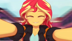 Size: 4000x2250 | Tagged: safe, artist:maren, sunset shimmer, equestria girls, friendship games, blurry background, breasts, bust, busty sunset shimmer, canterlot high, cleavage, cute, daaaaaaaaaaaw, eyes closed, female, high res, offscreen character, pov, reaching out, shimmerbetes, smiling, solo