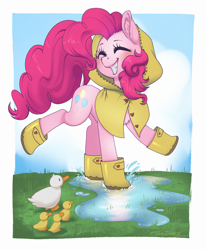 Size: 3109x3775 | Tagged: safe, artist:taytinabelle, pinkie pie, bird, duck, earth pony, pony, booties, boots, button, chest fluff, clothes, cloud, cute, cutie mark, diapinkes, dock, duckling, ear fluff, eyes closed, female, grass, happy, hoodie, jacket, mare, playing, puddle, rain boots, raincoat, raised hoof, raised tail, shoes, sky, smiling, splash, splashing, tail, water