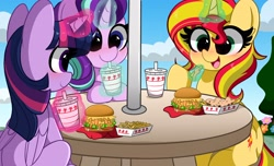 Size: 4096x2496   Tagged: safe, artist:kittyrosie, starlight glimmer, sunset shimmer, twilight sparkle, alicorn, pony, unicorn, animal-style fries, blushing, burger, cute, digital art, female, food, french fries, glimmerbetes, hay fries, in-n-out, magic, mare, shimmerbetes, smiling, trio, twiabetes, twilight sparkle (alicorn)