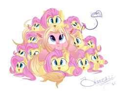 Size: 1600x1200 | Tagged: safe, artist:sketchiix3, fluttershy, oc, oc:mio, pony, :3, :p, andrea libman, cute, daaaaaaaaaaaw, ear fluff, female, freckles, heart, lying down, mare, multeity, open mouth, pile, plushie, pony pile, prone, shyabetes, simple background, smiling, so much flutter, tongue out, white background