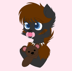 Size: 1841x1835 | Tagged: safe, artist:vaiola, oc, oc:coco, oc:coco winchester, hybrid, original species, advertisement, avatar, baby, big eyes, bust, claws, commission, cute, ear fluff, eyebrows, eyebrows visible through hair, female, fluffy, hug, icon, jewelry, necklace, pacifier, pink background, portrait, shy, simple background, solo, teddy bear, ych result