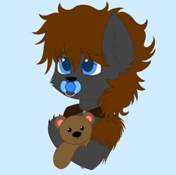 Size: 1841x1835 | Tagged: safe, artist:vaiola, oc, oc:cherokee winchester, hybrid, original species, advertisement, avatar, baby, big eyes, blue background, bust, claws, colored sketch, commission, cute, ear fluff, eyebrows, eyebrows visible through hair, fluffy, hug, icon, male, pacifier, portrait, shy, simple background, solo, teddy bear, ych result
