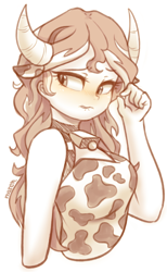 Size: 2302x3728   Tagged: safe, artist:maren, sunset shimmer, equestria girls, bell, blushing, cow costume, cow girl, cow horns, cowbell, cowprint, doodle, horns, lip bite, monochrome, partial color, simple background, sketch, solo, sunset shimmoo, white background