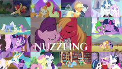 Size: 1968x1109 | Tagged: safe, edit, edited screencap, editor:quoterific, screencap, apple bloom, applejack, big macintosh, bright mac, coloratura, fancypants, fleur-de-lis, fluttershy, manny roar, ocean flow, pear butter, princess cadance, princess celestia, rainbow dash, rarity, scootaloo, shining armor, sky beak, spike, starlight glimmer, sugar belle, sweetie belle, tank, terramar, twilight sparkle, alicorn, manticore, a canterlot wedding, a royal problem, fake it 'til you make it, friendship is magic, hard to say anything, just for sidekicks, princess twilight sparkle (episode), surf and/or turf, sweet and elite, the last roundup, the mane attraction, the perfect pear, the times they are a changeling, cutie mark crusaders, female, golden oaks library, male, nuzzling, shipping, straight, sugarmac, twilight sparkle (alicorn)