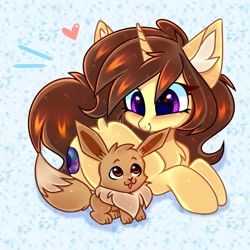 Size: 3000x3000 | Tagged: safe, artist:pesty_skillengton, oc, oc:astral flare, eevee, pony, unicorn, abstract background, blushing, chest fluff, chibi, cutie, dock, ear fluff, female, looking at each other, lying down, mare, open mouth, pokémon, prone, smiling, solo