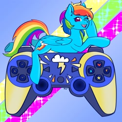 Size: 2500x2500 | Tagged: safe, artist:koa, artist:koapony, rainbow dash, pegasus, pony, dualshock controller, female, one eye closed, open mouth, playstation, playstation 3, solo, wink