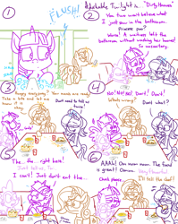 Size: 4779x6013 | Tagged: safe, artist:adorkabletwilightandfriends, cinnamon chai, spike, starlight glimmer, twilight sparkle, alicorn, dragon, pony, unicorn, comic:adorkable twilight and friends, adorkable, adorkable twilight, bathroom, burrito, cellphone, comic, cute, dirty hooves, disgusted, disgusting, dork, eating, female, flush, food, fork, funny, give up, glowing horn, gross, hooves, horn, humor, magic, mare, phone, quesadilla, restaurant, restroom, sitting, slice of life, smartphone, soap, soap bubble, spoon, table, table football, table game, taco salad, telekinesis, toilet, toilet humor, twilight sparkle (alicorn), unsanitary, waitress, washing, washing hooves, watching