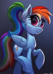 Size: 2160x3000 | Tagged: safe, artist:sadtrooper, artist:vanillaghosties, rainbow dash, pegasus, pony, alternate hairstyle, beautiful, collaboration, cute, dashabetes, ear fluff, female, high res, looking at you, mare, ponytail, solo