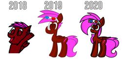 Size: 2000x979 | Tagged: safe, artist:rainbowbacon, oc, oc:rainbowbacon, pegasus, pony, 2018, 2019, 2020, art progress, female, pegasus oc, simple background, white background, wings