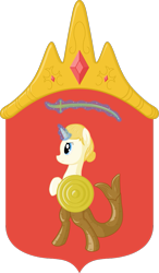 Size: 585x1000 | Tagged: safe, oc, oc only, hybrid, mermaid, pony, unicorn, coat of arms, emblem, magic, magic aura, male, nation ponies, poland, ponified, solo, stallion, telekinesis, warsaw