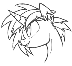Size: 600x550   Tagged: safe, artist:yaco, dj pon-3, vinyl scratch, pony, alternate hairstyle, bust, ear piercing, earring, female, grin, jewelry, mare, piercing, simple background, sketch, smiling, solo, white background