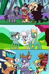Size: 1200x1800   Tagged: safe, artist:redahfuhrerking, arizona cow, fhtng th§ ¿nsp§kbl, oleander, paprika paca, pom lamb, tianhuo, velvet reindeer, alpaca, classical unicorn, cow, deer, demon, dragon, hybrid, lamb, longma, reindeer, sheep, unicorn, them's fightin' herds, angry, annoyed, apple, arizona cow is not amused, babying, banana, bandana, bell, bell collar, bill, blushing, bondage, bonnet, bow, bread, broccoli, cake, candy, chocolate, cloven hooves, collar, comic, community related, death stare, ear piercing, earring, female, fightin' six, food, grapes, gritted teeth, hair bow, hat, implied pomhuo, jewelry, leonine tail, lollipop, male, open mouth, pacifier, piercing, pretzel, pumpkin, raised hoof, recolor, rope, rope bondage, smiling, smug, snow, soda, sweat, sweatdrop, tongue out, tree, unshorn fetlocks, velvet reindeer is not amused, when she smiles