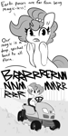 Size: 3000x6000 | Tagged: safe, artist:tjpones, oc, oc only, oc:brownie bun, earth pony, pony, comic, dialogue, grass, irony, lawn mower, monochrome, mowing, sitting, smiling, solo