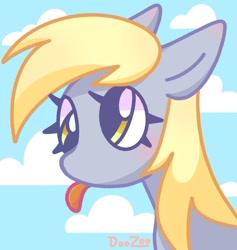 Size: 814x857 | Tagged: safe, artist:doozoo, derpy hooves, pegasus, pony, bust, cloud, cute, derp, derpabetes, female, floppy ears, mare, portrait, sky, solo, tongue out