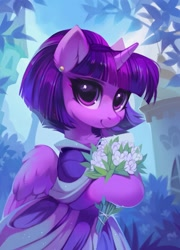 Size: 1471x2048 | Tagged: safe, artist:share dast, twilight sparkle, alicorn, pony, the last problem, alternate hairstyle, bouquet, chest fluff, clothes, coronation dress, cute, dress, ear fluff, female, flower, looking at you, mare, pretty, second coronation dress, short hair, solo, twiabetes, twilight sparkle (alicorn)