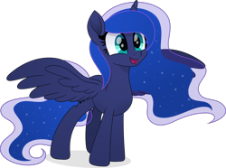 Size: 6001x4462 | Tagged: safe, artist:pumpkinpieforlife, princess luna, alicorn, pony, absurd resolution, cute, ethereal mane, ethereal tail, female, happy, lunabetes, mare, simple background, solo, spread wings, transparent background, vector, wings