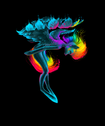 Size: 2236x2683 | Tagged: safe, artist:yanisfucker, rainbow dash, pegasus, semi-anthro, black background, color porn, eyes closed, simple background, solo