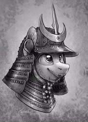 Size: 1825x2534 | Tagged: safe, artist:helmie-d, oc, pony, abstract background, armor, bust, facial hair, grayscale, helmet, male, monochrome, portrait, samurai, solo, stallion