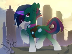 Size: 2000x1500   Tagged: safe, artist:trickate, oc, oc only, pony, unicorn, apocalypse, bag, butt, chest fluff, commission, dock, ear fluff, female, glowing horn, horn, lidded eyes, looking at you, mare, plot, raised hoof, raised leg, saddle bag, smiling, solo