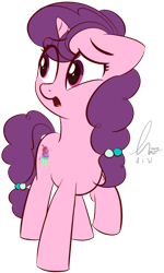 Size: 1358x2256   Tagged: safe, artist:potato22, sugar belle, pony, unicorn, eye clipping through hair, eyebrows visible through hair, female, floppy ears, frown, mare, open mouth, raised hoof, simple background, solo, transparent background
