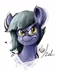 Size: 1101x1407 | Tagged: safe, artist:th3ipodm0n, limestone pie, earth pony, pony, angry, bust, female, frown, looking at you, mare, portrait, simple background, solo, white background