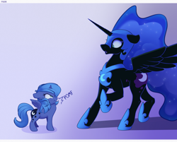 Size: 3800x3049 | Tagged: safe, artist:nookprint, nightmare moon, princess luna, alicorn, pony, blushing, chest fluff, cute, duality, female, filly, floppy ears, fluffy, intimidating, lunabetes, nookprint is trying to murder us, pomf, puffy cheeks, raised hoof, scrunchy face, self ponidox, smol, weapons-grade cute, woona, younger