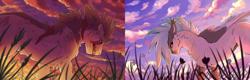 Size: 2752x876 | Tagged: safe, artist:darkimae, oc, oc:dove, oc:fang, hybrid, pegasus, wolf, wolf pony, comparison, fangs, feather, finished, grass, lighting, scar, shading, sky, sunrise, sunset, teeth