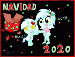 Size: 6594x5025 | Tagged: safe, artist:rammzblood, lyra heartstrings, pony, unicorn, equestria girls, 2020, baby, baby pony, christmas, diaper, female, filly, filly lyra, hand, holiday, open mouth, present, self paradox, self ponidox, that girl sure loves hoof, that pony sure does love hands, younger