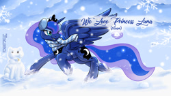 Size: 1200x675 | Tagged: safe, artist:sonicsweeti, princess luna, alicorn, pony, clothes, collar, commission, crown, cutie mark, digital art, female, headset, hooves, horn, jewelry, mare, regalia, scarf, snow, snowball, snowfall, snowflake, snowman, solo, spread wings, tail, text, wings