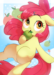 Size: 924x1286 | Tagged: safe, artist:nendo, apple bloom, earth pony, pony, adorabloom, apple, apple bloom's bow, bow, cute, female, filly, floppy ears, food, hair bow, hairpin, solo